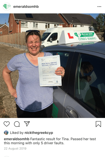 Tina Driving Lesson Herne Bay Emerald School of Motoring